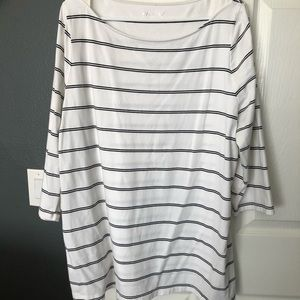 White & Black Striped Top